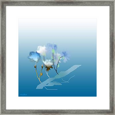 Framed Print featuring the digital art Misty Morning Flowers by Asok Mukhopadhyay