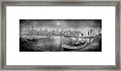 Misty Morning Harbour - Bw Framed Print