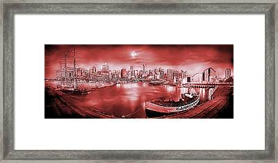 Misty Morning Harbour - Red Framed Print