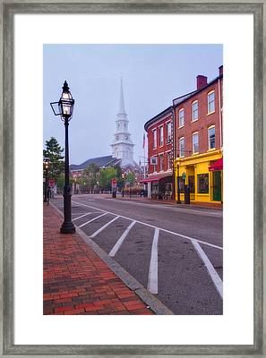 Misty Morning In Market Square Framed Print by Jeff Sinon