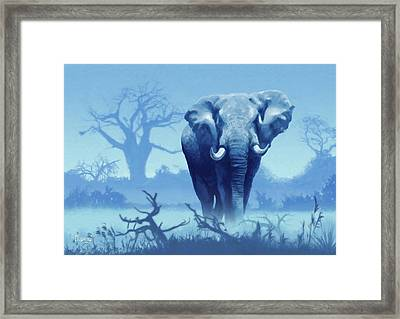 Misty Morning In The Tsavo Framed Print