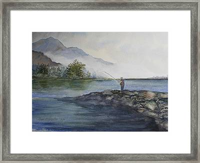 Framed Print featuring the painting Misty Morning by Jan Cipolla