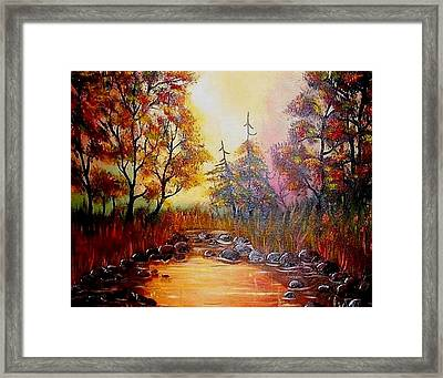 Framed Print featuring the painting Misty Morning Marsh by The GYPSY And DEBBIE