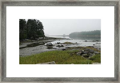 Misty Morning On The Rocky Coast Of Maine Framed Print