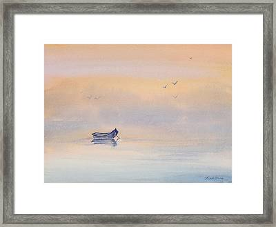 Misty Morning Peace Watercolor Painting Framed Print