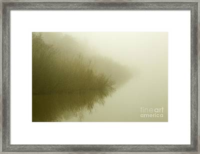 Misty Morning Reflection. Framed Print by Clare Bambers