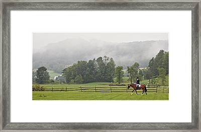 Misty Morning Ride Framed Print by Joan Davis