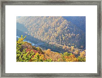 Misty Morning View Of The New River Gorge Old County Road 82 Bri Framed Print