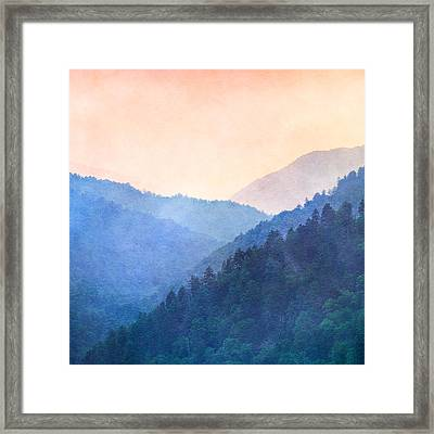Misty Mountain Sunset Framed Print