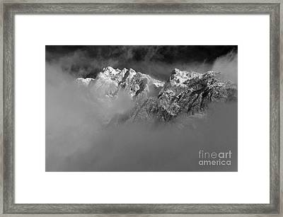 Misty Mountains In Mono Framed Print