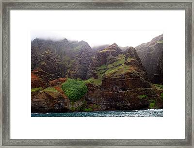 Misty Na Pali Coastline Framed Print by Amy McDaniel