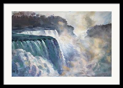 Waterfall Paintings Framed Prints