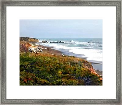 Misty Ocean Shoreline Framed Print by Elaine Plesser