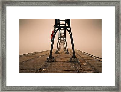 Framed Print featuring the photograph Misty Pier by Jason Naudi Photography