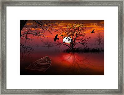 Misty Red Sunrise With Ravens Framed Print