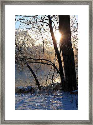Misty River Sunrise Framed Print