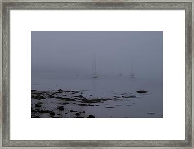 Misty Sails Upon The Water Framed Print by Jeff Folger
