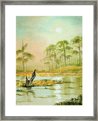 Misty Sunrise At Wakulla Framed Print by Bill Holkham