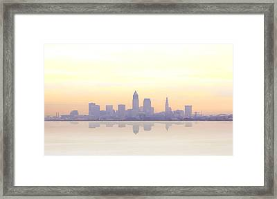 Misty Sunrise In Cleveland Framed Print