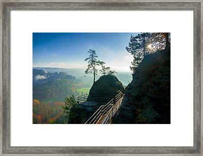 Misty Sunrise On Neurathen Castle Framed Print