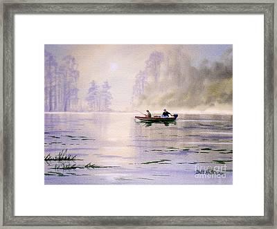 Misty Sunrise On The Lake Framed Print by Bill Holkham