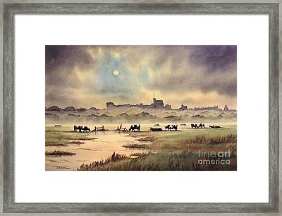 Misty Sunrise - Windsor Meadows Framed Print by Bill Holkham
