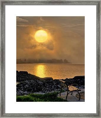 Misty Sunset At The Bay Framed Print