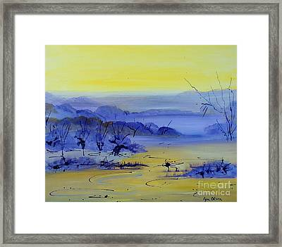 Framed Print featuring the painting Misty Valley by Lyn Olsen