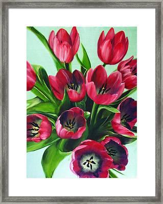 Mistys Tulips Framed Print by Sherry Robinson