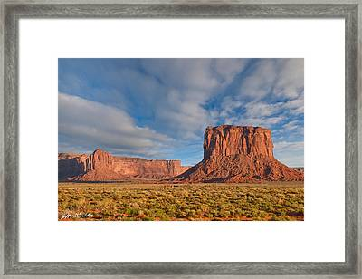 Framed Print featuring the photograph Mitchell Butte And Gray Whiskers In The Evening Light by Jeff Goulden