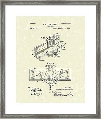 Miter Box 1889 Patent Art Framed Print by Prior Art Design