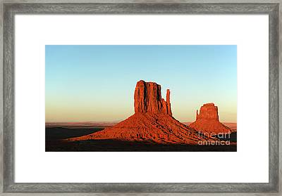 Mitten Buttes At Sunset Framed Print by Jane Rix