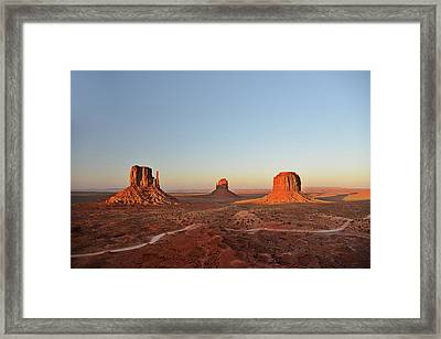 Mittens And Merrick Butte Monument Valley Framed Print by Christine Till