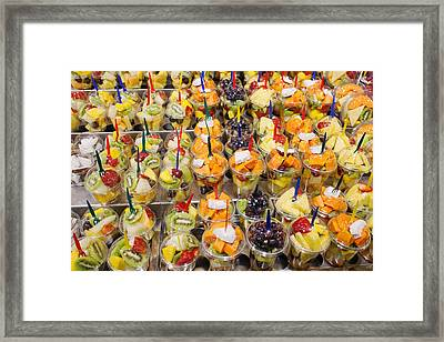 Mix Of Fresh Fruits On A Market Stall Framed Print