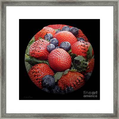 Mixed Berries Baseball Square Framed Print by Andee Design