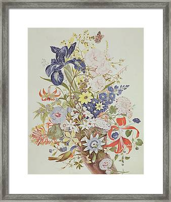 Mixed Flowers In A Cornucopia Framed Print by Thomas Robins
