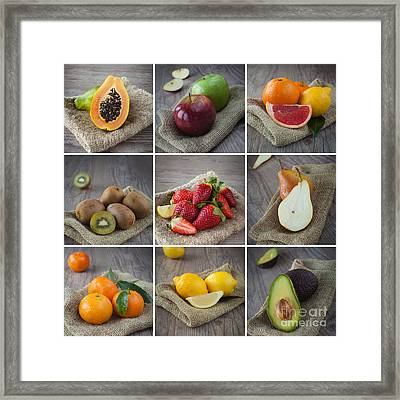 Mixed Fruits Collage Framed Print by Sabino Parente