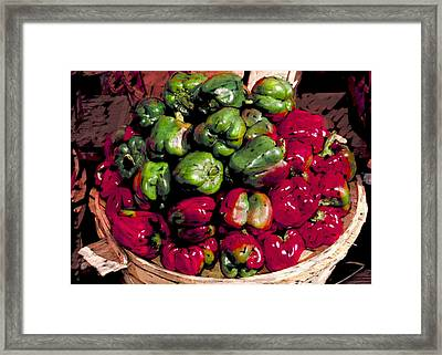 Mixed Green And Red Peppers In A Farm Basket Framed Print