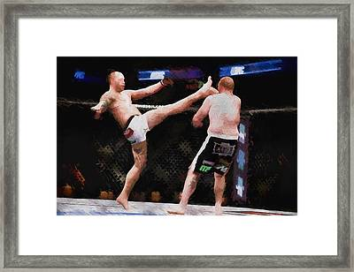 Mixed Martial Arts - A Kick To The Head Framed Print by Elaine Plesser
