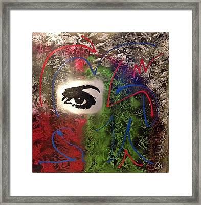 Mixed Media Abstract Post Modern Art By Alfredo Garcia Eye See You 2 Framed Print