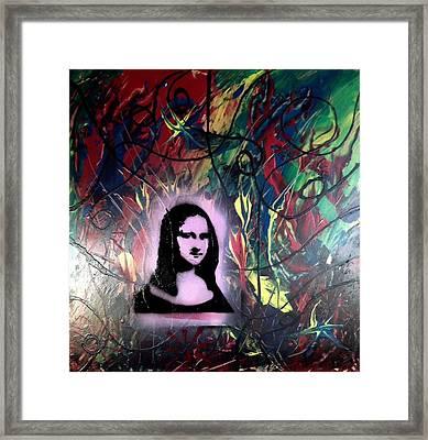 Mixed Media Abstract Post Modern Art By Alfredo Garcia Mona Lisa 2 Framed Print
