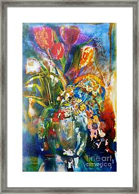 Mixed Media Tulips Framed Print by Donna Acheson-Juillet