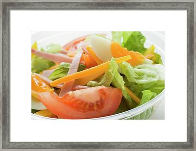 Mixed Salad With Ham And Egg In Plastic Container Framed Print