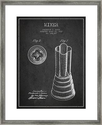 Mixer Patent From 1937 - Dark Framed Print