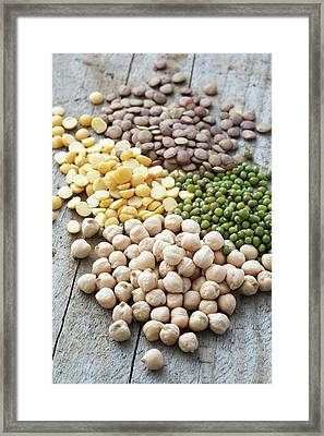 Mixture Of Peas And Lentils Framed Print by Gustoimages