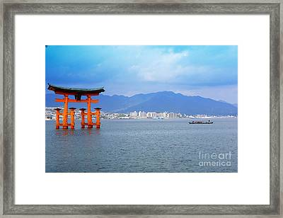Framed Print featuring the photograph Miyajima Torii by Cassandra Buckley