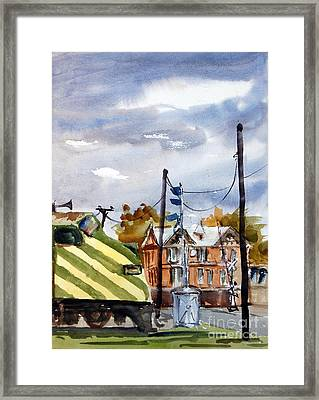Mkt Train And Travellers Hotel Denison Tx Framed Print by Ron Stephens