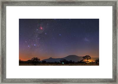 Mliky Way And Large Magellanic Cloud Framed Print by Babak Tafreshi
