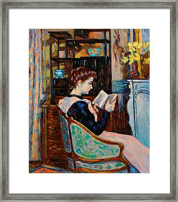 Mlle Guillaumin Reading Framed Print by Jean Baptiste Armand Guillaumin
