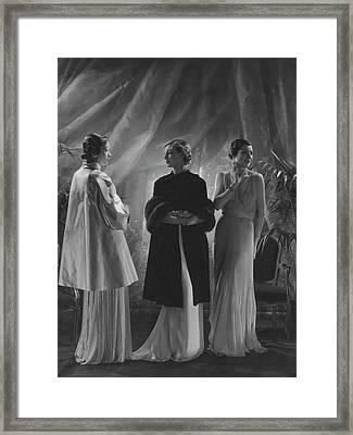 Mlle. Koopman Wearing A Satin Wrap Framed Print by George Hoyningen-Huen?